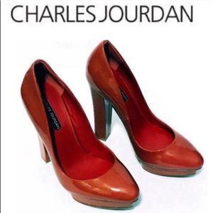 Charles Jourdan red platform patent leather heels